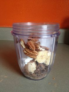 Chocolate Shake- Pecans, cacao powder & nibs, chia seeds, plain yogurt, banana, honey, ice and water #nutribullet #nutriblast