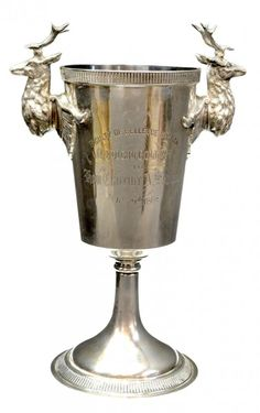 Tiffany & Company sterling silver presentation goblet having elaborate stag handles, inscribed 'Faculty of Bellevue Hospital Medical College to Hon. Clarence A. Seward, Feb. 29th, 1868', (Clarence Armstrong Seward, New York, 1828-1897, Judge Advocate General , State of New York, Assistant Secretary of the U.S. Department of State in President Andrew Johnson's administration