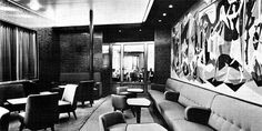 Holland America Line: SS Statendam IV - built in 1957 The Tourist Ante Room, looking toward the Smoking Room through the glass doors