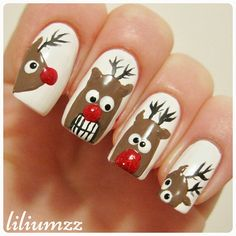"""I got the idea to make some funny looking #reindeer and here's the result! I think they turned out great ❤ they looks so confused and cute!"" Check out my instagram @liliumzz   #nail #nails #nailart #naildesign #nailpolish #nailstagram #manicure #mani #neglelakk #manikyr #instanails #nagellack #nailspiration #nagellack  #notd #nailsoftheday #liliumzz #cutenails #cutemani #nails2inspire #winternails #christmasnails #reinsdyr #winterwonderland #rudolph #christmasmani"