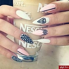 Image via We Heart It https://weheartit.com/entry/144796915/via/10810506 #artistic #fashion #nailart #nescafe #stilettonails #milk&coffee
