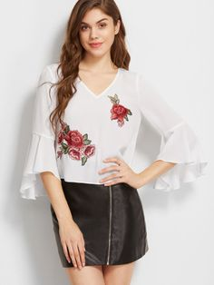 White Cutout Back Ruffle Sleeve Top With Rose Patch Detail