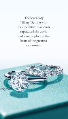 These are the rings that hold the promise. The Tiffany® Setting engagement ring and shared-setting wedding band.
