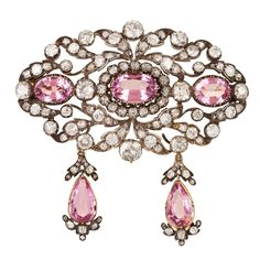 Beautiful Victorian Pink Topaz Diamond Brooch For Sale Diamond Brooch, Silver Brooch, Diamond Jewelry, Topaz Jewelry, Diamond Choker, Diamond Necklaces, Topaz Earrings, Gold Brooches, Emerald Earrings