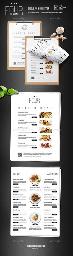 Four Seasons Minimal Menu - A4 and US Letter - Food Menus Print Templates
