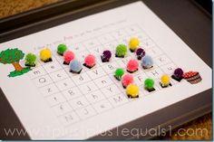 pom pon magnets for alphabet mazes printables