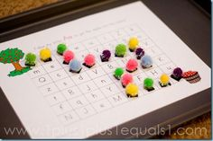 pom pon magnets for alphabet mazes printables (could make my own with b and d or p and q)