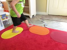 Preschool circle time idea | Grab a spot -- floor grip or place mats instead of carpet squares