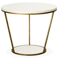 Really like this for end table. Simple and elegant. Can do silver finish on base and change up top finish as well. Redford House Blair Round Side Table
