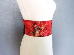 Ceinture obi en brocart fleurs et pêches sur fond rouge : Ceinture par yinco-hime