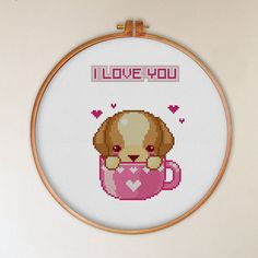 Cute dog in hearts cup I love you cross stitch by tscrossstitch love gift for boyfriend, modern cross stitch pattern, counted cross stitch pattern