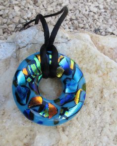 Big Blue Donut Dichroic Fused Glass Pendant, Blue Glass Necklace, Dichroic Glass Pendant, donut necklace