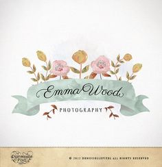 A shabby chic watercolor logo featuring romantic vintage flowers and a pretty banner. I will re-design the typography with hand drawn swashes and