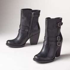 "ANKI BOOTS -- Kork-Ease® steps up their style with these buckle and strap short boots. Comfort and class that will stand the test of time. Leather. Imported. Whole and half sizes 6 to 10, 11. 3-1/2"" heel."
