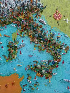Sara Drake - Large 3D illustrated map of Italy - papier mache, acrylic paint, balsa wood and mixed media. 65cm x 82cm. 2014