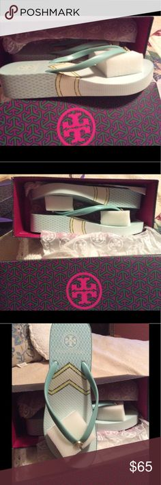 NIB 💯% Authentic TORY Burch Wedge Flip Flops 🏖 AUTHENTIC TORY BURCH Wedge Flip Flops ~ Beautiful Color ~ SHORE - SARNO 🏖. NEW in BOX ~  size 9 ~ if you wear a size 8 1/2 these will fit u. They are not made in half sizes ~. Just in time for summer 🏖 Tory Burch Shoes Sandals