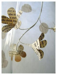 Sarah Pinyan posted diy paper butterfly ornaments or tags from old book pages to her -Papercraft- postboard via the Juxtapost bookmarklet. Handmade Flowers, Diy Flowers, Fabric Flowers, Paper Flowers, Flower Petals, Spring Flowers, Book Projects, Craft Projects, Book Page Flowers