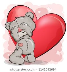 Teddy bear stands with his eyes closed, and behind him a big red heart. Tatty Teddy, Kawaii Drawings, Cute Drawings, Birthday Card With Photo, Valentine's Day Paper Crafts, Urso Bear, Valentine Drawing, Teddy Bear Drawing, Tedy Bear