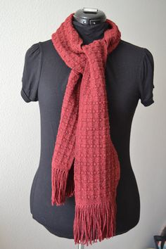 Handwoven cotton scarf  Red  Thick and Warm by TextileRow on Etsy