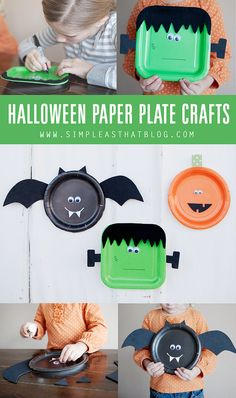 Halloween paper plate craft #Halloween #easy #HappyHalloween #decor #decoration #party #activity #craft #diy #preschool #prek #kindergarten #kids #children #paperplate #easy #simple #home