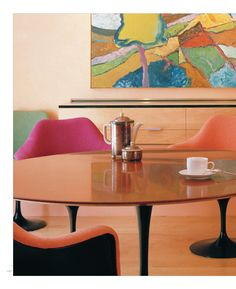 like the fun colors in the mid-century modern dining room
