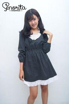 Handmade Retro Classic Long Sleeves Black Polka Dot Dress With Lace #kawaii #fairykei #lolita #retro #clothing #cute #morikei