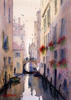 Watercolor paintings of Venice Gallery of Joe Cartwright, Australian artist. Canal paintings, historical buildings and churches, sunsets, and atmosphere. Watercolor City, Watercolor Landscape, Watercolor Illustration, Landscape Art, Watercolor Drawing, Landscape Paintings, Watercolor Paintings, Watercolors, Venice Painting