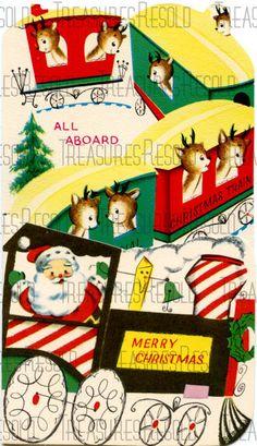 Santa Reindeer Christmas Train Card 299 Digital by TreasuresResold