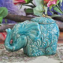 Clásica Cerámica Elefante Estatua De Almacenamiento Tarro de cristal Decorativo de Porcelana Domésticos Organizador Canister Ornamento Craft Accesorios(China (Mainland))