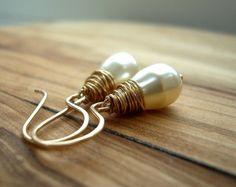 Cream Pearl Earrings - Pearl Drop Earrings - Gold Pearl Earrings - Simple Pearl Earrings - Ivory Pearl Earrings - Bridal Earrings