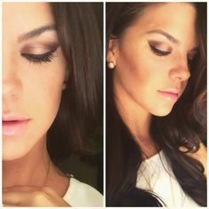 Bronze Eye Makeup and pink lips- lorac palette, MAC Studio Fluid Foundation, Smashbox Bronzer, NYX Liquid Liner