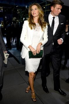 Gisele Bundchen's lacy white dress is so chic! (at Dolce & Gabbana flagship opening)