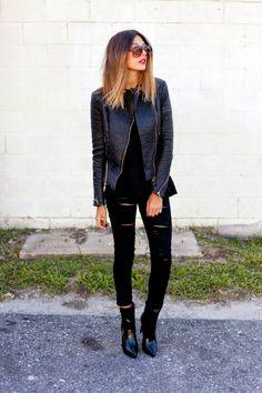 Veste en cuir femme- 38 idées cool de tenues automne!