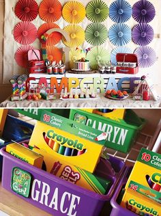 {Rainbow Camp} Arts & Crafts Birthday Party...great idea for party favors!  Back to school supplies are cheap in the summer and caddies are usually in the dollar bins at stores like Target and Michael's!