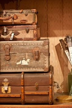 old suitcases. I've done this at home. They make great sculptures and end tables