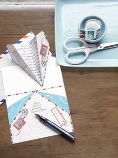 Last-minute #Valentine: Jot a sweet note on our free paper airplane pattern, and send your love soaring!     Print out the template here: http://www.countryliving.com/crafts/projects/valentine-day-crafts#slide-10