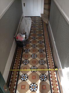 Victorian encaustic and geometric hallway floor tiles Minton Tiles, Hallway Tiles Floor, Tiles, Tile Design, Victorian Hallway, Flooring, Hall Tiles, Victorian Interior, Victorian Tiles