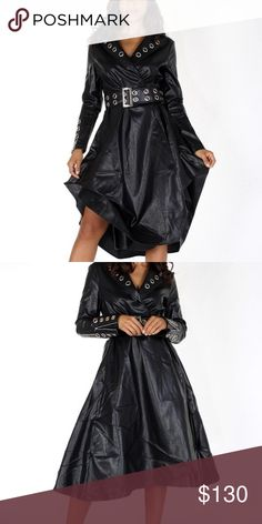 Drama Queen Jacket Faux leather, wrapped midi jacket in a fit and flare  style with ef8229776bd