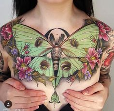 Luna moth tattoo. frgging incredible, only chest piece ive ever seen that i would actually want.