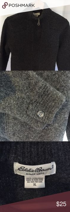 Nice Eddie Bauer Lambswool Sweater Dark Gray Eddie Bauer Lambswool Sweater with Zip Front. Gently worn. Great condition.  The first picture is a true reflection of the color. Eddie Bauer Sweaters Zip Up
