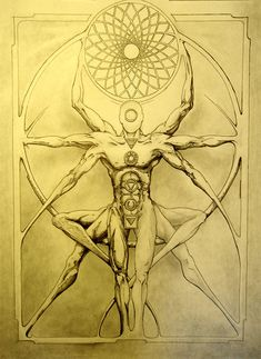 Davinci's Yoga 2 update 2 by mauthbaux Tattoo Homme, Los Muertos Tattoo, Sketch Style, Les Chakras, Alchemy Symbols, Sacred Geometry Art, Esoteric Art, Dark Art Drawings, Occult Art