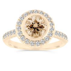 Champagne and White Diamonds Engagement Ring,  Brown Wedding Ring 14K Yellow Gold Bezel Halo Pave Certified