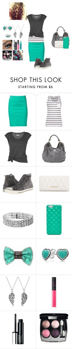 """""""Minty Charcoal"""" by maggiesmelody ❤ liked on Polyvore featuring VILA, Barbour, Lija, Converse, Vera Bradley, FOSSIL, Bijoux de Famille, Bling Jewelry, NARS Cosmetics and Clinique"""