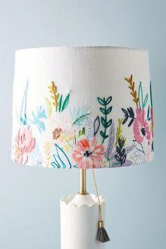Alicia Galer Juliette Lamp Shade by Anthropologie in Assorted Lighting Best Desk Lamp, Room Lamp, Bed Room, Tiffany Lamps, Wooden Lamp, Motif Floral, Table Lamp, Lights, Crafts