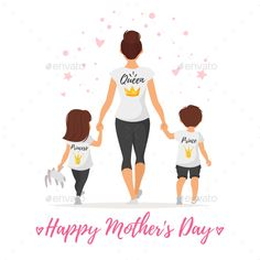 Vector cartoon style illustration of happy mother with children in t-shirts with golden crowns. Mother's day greeting card templat