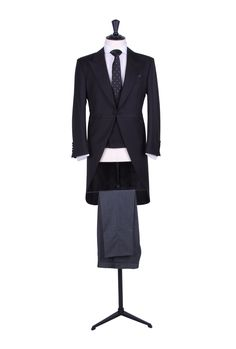 Grooms slim fit black tail coat with matching double breasted waistcoat and grey pin stripe trousers