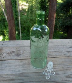 Glass Bottle with Topper Green 11.5in (Save 40%)