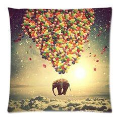 Custom Cotton & Polyester Soft Square Zippered Cushion Throw Case Pillow Case Cover 18X18 (Twin Sides) - Cute Animal Elephant Color Balloon Galaxy Nebula Sunshine Spot Background Lovely Pillowcase Pillowcase http://www.amazon.com/dp/B00KL8O9X0/ref=cm_sw_r_pi_dp_AgOVub19VHKAY