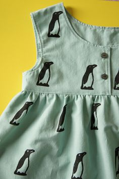 Hand stamped, self drafted penguin dress by anu*miki
