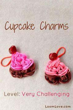 rainbow loom cupcake charms @Maggie Moore Moore Moore McIntire    cute